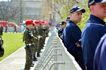 Warsaw, Poland. 10 April 2018. Just before the Smolensk. Police and military forces