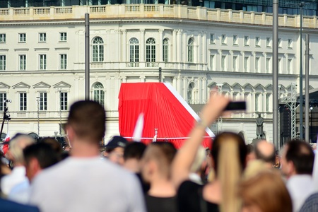 Warsaw, Poland. 10 April 2018.The ceremony of unveiling the victims of a plane crash near Smolensk.
