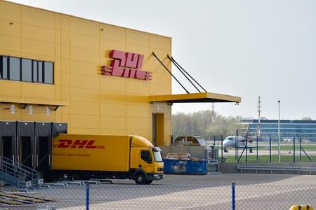 Warsaw, Poland. 15 April 2018. Sign DHL. Company signboard DHL.