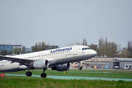 Warsaw, Poland. 15 April 2018. Passenger airplane Airbus A320-200 Lufthansa Airlines is flying from the Warsaw Chopin Airport runway