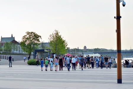 Warsaw, Poland. 30 April 2018. Vistulan Boulevards on the western side of the Vistula River in Warsaw. The promenade at the bank of the Vistula river