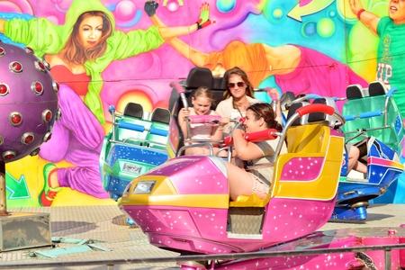 Warsaw, Poland. 21 May 2018. Carousel Crazy Dance at amusement park. Warsaw Stegny