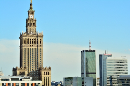 Warsaw, Poland. 23 May 2018. View downtown business skyscrapers, city center.