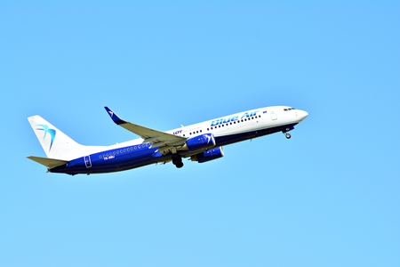 Warsaw, Poland. 28 May 2018. Passenger airplane YR-BMJ - Boeing 737-8K5 - Blue Air is flying from the Warsaw Chopin Airport runway