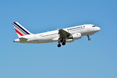 Warsaw, Poland. 28 May 2018. Passenger airplane F-GRHV - Airbus A319-111 - Air France is flying from the Warsaw Chopin Airport runway Editorial