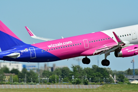 Warsaw, Poland. 28 May 2018. Passenger airplane HA-LYS Wizz Air Airbus A320-232 is flying from the Warsaw Chopin Airport runway
