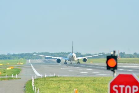 Warsaw, Poland. 8 June 2018. Plane SP-LRA LOT - Polish Airlines Boeing 787-8 Dreamliner preparing to take off.