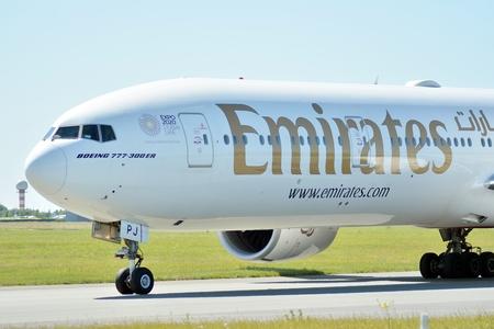 Warsaw, Poland. 6 June 2018. Plane A6-EPJ - Boeing 777-31H (ER) - Emirates preparing to take off.