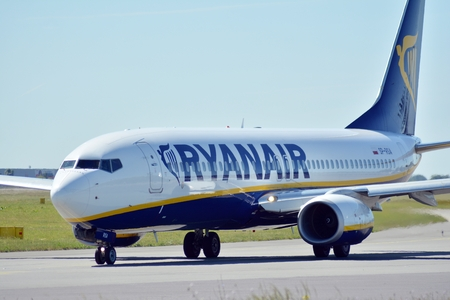 Warsaw, Poland. 6 June 2018. Plane SP-RSA - Boeing 737-8AS - Ryanair Sun preparing to take off. Editorial