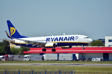 Warsaw, Poland. 8 June 2018. Plane SP-RSA - Boeing 737-8AS - Ryanair Sun just before landing at the Chopin airport.