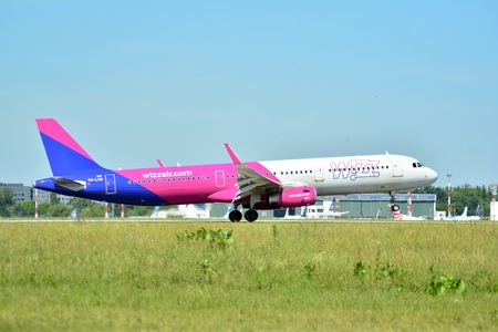 Warsaw, Poland. 8 June 2018. Plane HA-LXN - Airbus A321-231 - Wizz Air just before landing at the Chopin airport.