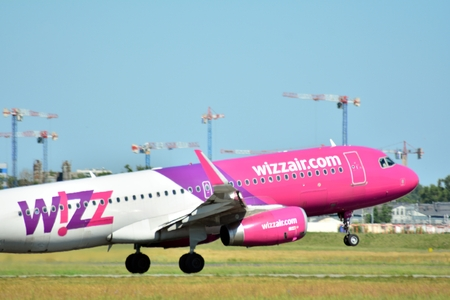 Warsaw, Poland. 8 June 2018. Passenger airplane HA-LTD - Airbus A321-231 - Wizz Air is flying from the Warsaw Chopin Airport runway