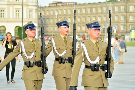 Warsaw, Poland.9 June 2018. Tomb of the Unknown Soldier, Pilsudski Square. Changing the guard at the grave of an unknown soldier,
