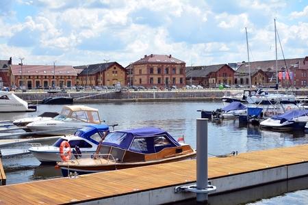 Szczecin, Poland. 25 June 2018. Yacht marina in Szczecin city Editorial