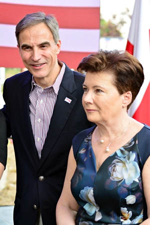 Warsaw, Poland. 7 July 2018. Independence Day and the 100 year bond between Poland and the United States. Ambassador of the United States Paul W. Jones and Mayor of Warsaw Hanna Gronkiewicz-Waltz