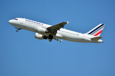 Warsaw, Poland. 24 July 2018. Airplane F-GKXM Air France Airbus A320-214 taking off from the Warsaw Chopin Airport.