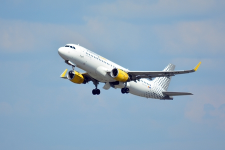 Warsaw, Poland. 24 July 2018. Airplane EC-LVX - Airbus A320-214 - Vueling Airlines taking off from the Warsaw Chopin Airport. Editorial