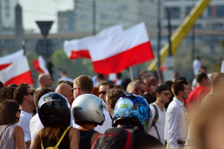 Warsaw, Poland. 1 August 2018. The celebration of the Warsaw Uprising. Roman Dmowski roundabout.