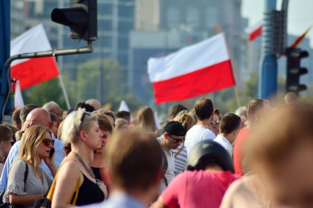 Warsaw, Poland. 1 August 2018. The celebration of the Warsaw Uprising. Roman Dmowski roundabout. Sajtókép