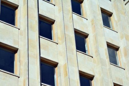 Modern facade with stone slabs