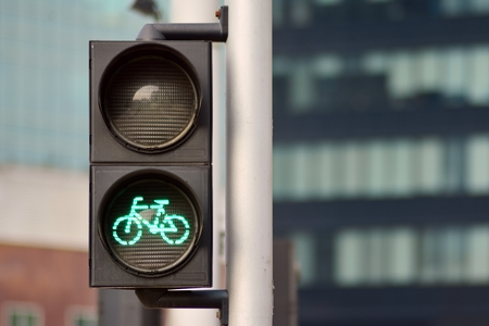 Bicycle traffic light with bicycle icon