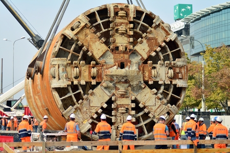 Warsaw, Poland. 8 September 2018. Construction of the second metro line. Tunnel Boring Machine at subway construction site