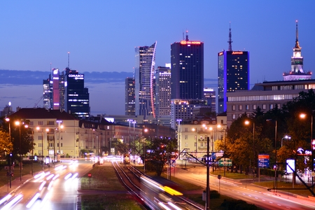 Warsaw, Poland. 12 September 2018. Warsaw city downtown night view during summer time.