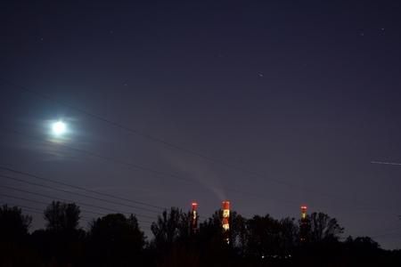 Power station at night Stock Photo