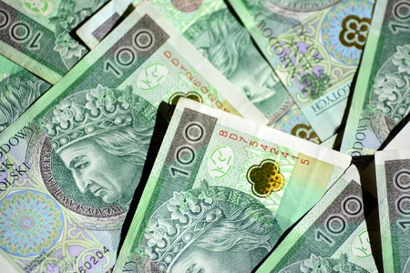 Background made from polish money banknotes