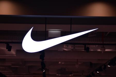 Szczecin, Poland. 6 October 2018. Sign Nike. Company signboard Nike.