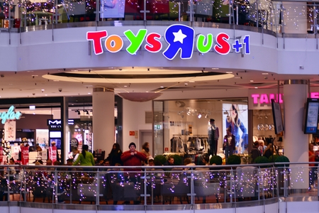 Warsaw, Poland. 10 November 2018. Sign Toys R us. Company signboard Toys R us. Editorial