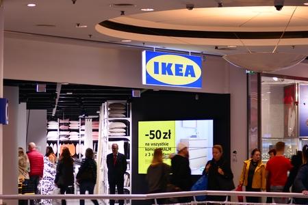 Warsaw, Poland. 10 November 2018. Sign Ikea. Ikea company signboard. Redactioneel