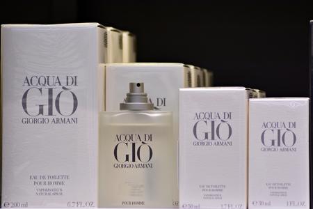 Warsaw, Poland. 20 November 2018. Perfumes Acqua di Gio Giorgio Armani on shelves. Editorial