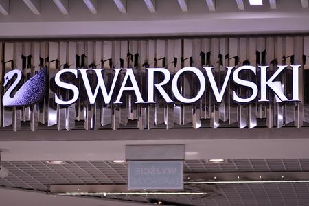 Szczecin, Poland. 23 December 2018. Sign Swarovski. Company Swarovski signboard. Editorial