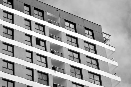 Abstract fragment of contemporary architecture. Residential modern building. Black and white.