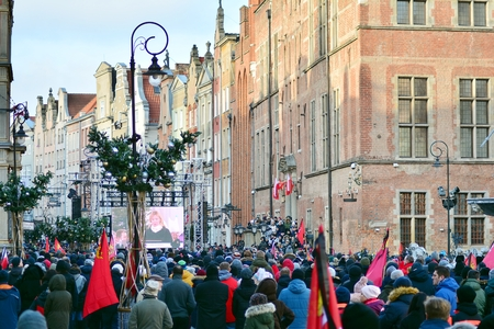 Gdansk, Poland .19 January 2019. Thousands of Poles crowded into the streets of Gdansk to bid farewell to the citys mayor who was murdered. Pawel Adamowicz died on 14 January 2019. Editöryel