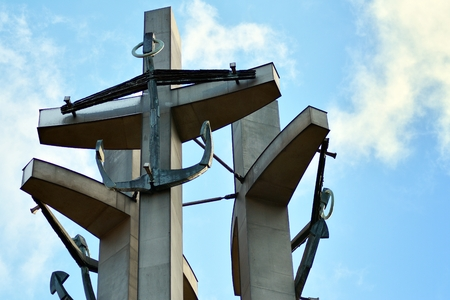 Gdansk, Poland .19 January 2019. Three Crosses with anchors, a monument to the fallen workers of shipyard at Solidarnosti Square in Gdansk