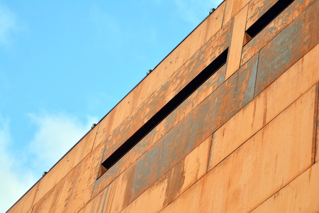 Modern building with rusty facade exteriors