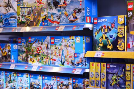 Warsaw, Poland. 15 March 2019. Shelf with many colored Lego toys