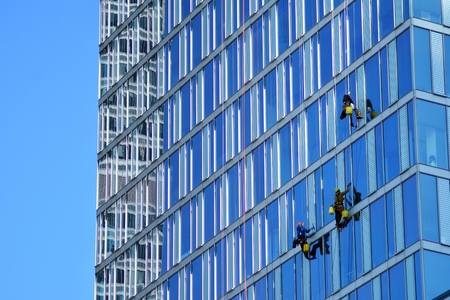 Climbers wash windows and glass facade of the skyscraper