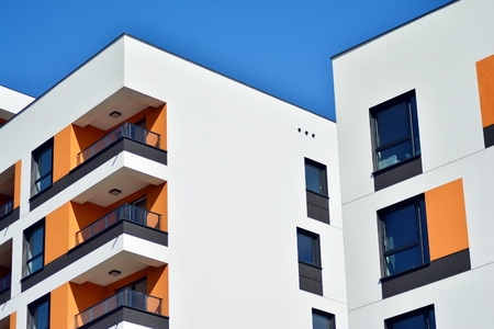 New-build residential building on a sunny summer day