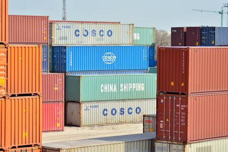 Warsaw, Poland. 5 April 2019. Stack of containers box, Cargo freight ship for import export logistics business.