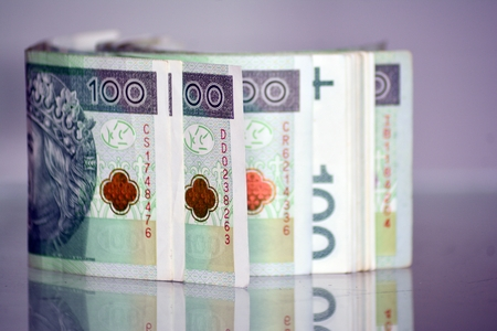 Polish Zloty banknotes (PLN) closeup. Polish one hundred zlotych Reklamní fotografie