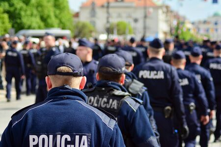 Warsaw, Poland. 1 May 2019. Police departments securing demonstrations of Polish nationalists