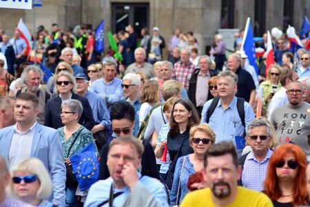 Warsaw, Poland. 18 May 2019.Thousands of opposition supporters marched in the Polish capital to celebrate the nations European Union membership ahead of the European Parliament election. Editöryel