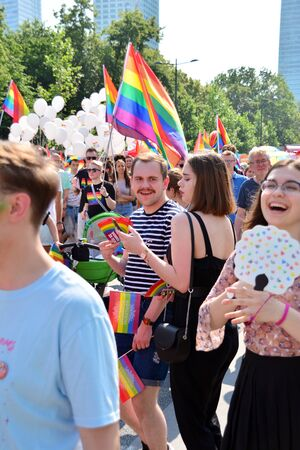 Warsaw, Poland. 8 June 2019. Warsaws Equality Parade.The largest gay pride parade in central and eastern Europe brought thousands of people to the streets of Warsaw.