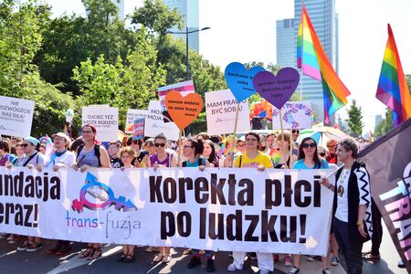 Warsaw, Poland. 8 June 2019. Warsaw's Equality Parade.The largest gay pride parade in central and eastern Europe brought thousands of people to the streets of Warsaw. Foto de archivo - 128668162
