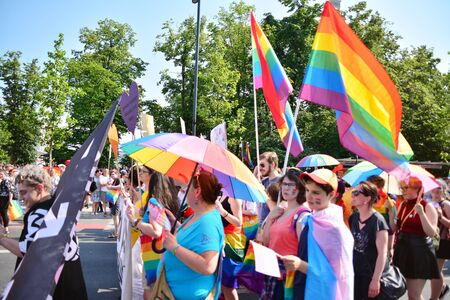 Warsaw, Poland. 8 June 2019. Warsaw's Equality Parade.The largest gay pride parade in central and eastern Europe brought thousands of people to the streets of Warsaw. Foto de archivo - 128668168