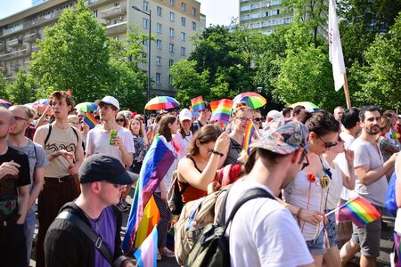 Warsaw, Poland. 8 June 2019. Warsaw's Equality Parade.The largest gay pride parade in central and eastern Europe brought thousands of people to the streets of Warsaw. Foto de archivo - 128668172