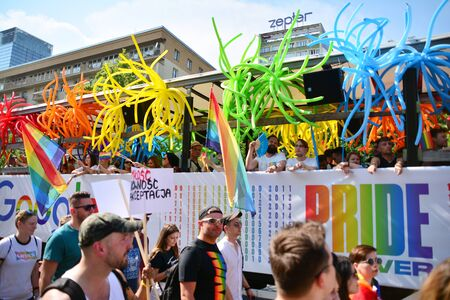 Warsaw, Poland. 8 June 2019. Warsaw's Equality Parade.The largest gay pride parade in central and eastern Europe brought thousands of people to the streets of Warsaw. Foto de archivo - 128668183